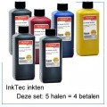 INK520Set-6x250ml 6 halen 5 betalen CMYBGr en Pigment black 6x250ml