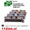 Toner cartridges voor Canon 701K t/m  701Y